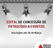 GOVERNO PIMENTEL PUBLICA EDITAL PARA CONCESSÃO DE PATROCÍNIO